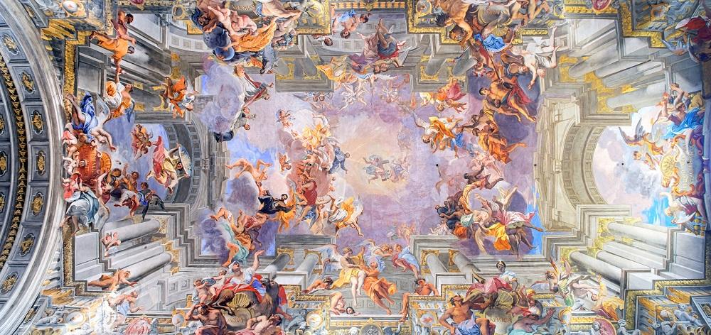 afresco andrea pozzo sant inacio roma - A igreja Santo Inácio