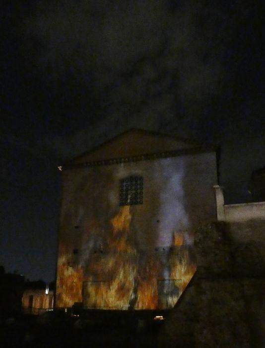 simulacao incendio curia visita noturna - Visitar o Fórum Romano de noite