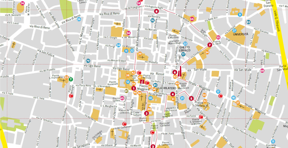visitar bolonha mapa centro historico - Visitar Bolonha!